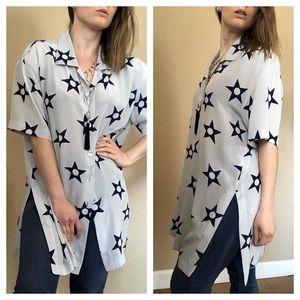 ESCADA VTG 80's silk blue STAR tunic skirt set
